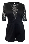 Women's Half Sleeve Lace Detail Romper Black