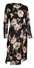 Plus Size Sheer Floral Print Mesh Evening Party Maxi Dress Black