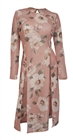 Plus Size Sheer Floral Print Mesh Evening Party Maxi Dress Pink