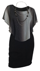 Women's Layered Poncho Dress Glitter Gray 17513