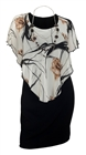 Women's Stripe Print Layered Poncho Dress Floral Print White 17513