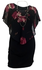 Women's Layered Poncho Dress Floral Print 17513