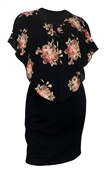 Women's Lace up Layered Poncho Dress Floral Print Black 1761
