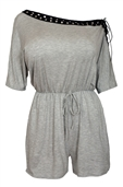 Women's Half Sleeve Lace Up Shoulder Romper Gray