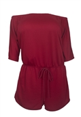 Plus Size Off Shoulder Romper Burgundy