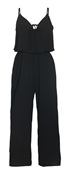 Plus Size Chiffon Capri Jumpsuit Black