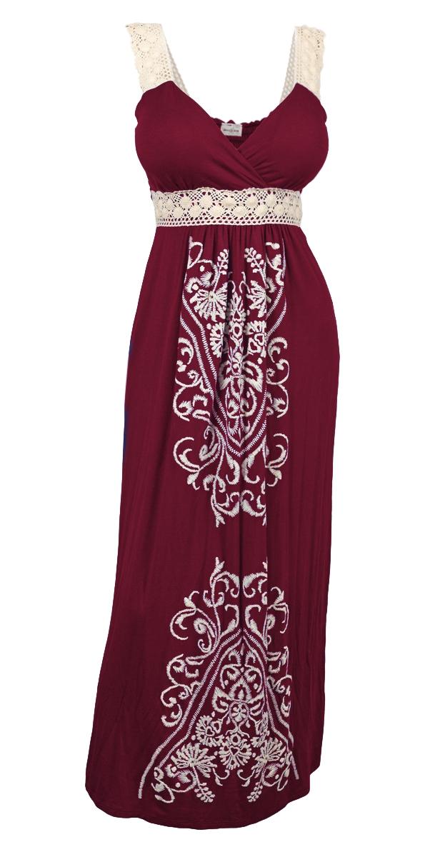Plus Size Embroidery Print Empire Waist Maxi Dress Burgundy ...