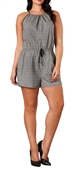 Plus Size Relaxed Fit Sleeveless Romper Patterned Gray