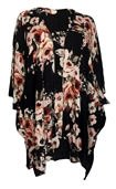 Plus size Long Open Front Kimono Cardigan Black Floral Print 1792