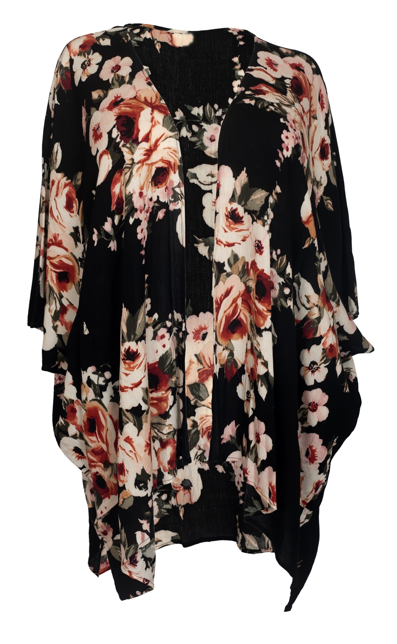 Plus size Long Open Front Kimono Cardigan Black Floral Print 1792 ...