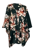 Plus size Long Open Front Kimono Cardigan Green Floral Print 1792