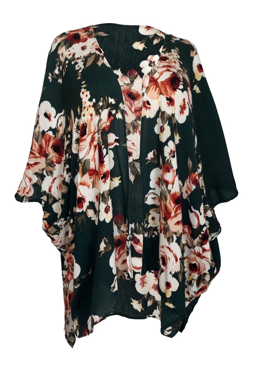 Plus size Long Open Front Kimono Cardigan Green Floral Print 1792 ...