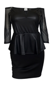 Plus size Faux Leather Lace Sleeve Peplum Dress Black
