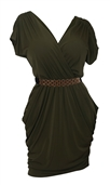 Plus size Deep V-Neck Wrap Bodice Dress Dark Olive Green
