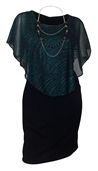 Women's Layered Poncho Dress Glitter Blue 17116