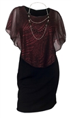 Women's Layered Poncho Dress Glitter Red 17116