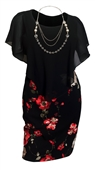 Plus Size Layered Poncho Dress Black Red Floral Print Skirt 18223