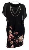 Plus Size Layered Poncho Dress Black Pink Floral Print Skirt 18223