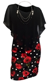 Plus Size Layered Poncho Dress Black Floral Print Skirt 18223-2