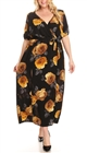 Plus Size Wrap Maxi Dress Black Floral Print 18218