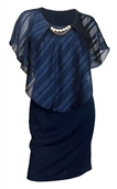 Plus Size Layered Poncho Dress Stripe Print Navy 18329
