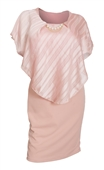Plus Size Layered Poncho Dress Stripe Print Pink 18329