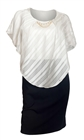 Plus Size Layered Poncho Dress Stripe Print White 18329