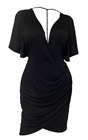 Plus size Deep V-Neck Wrap Bodice Dress Black 18528