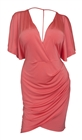 Plus size Deep V-Neck Wrap Bodice Dress Coral 18528