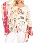 Plus Size V-Neck Kimono Inspired Top White Floral Print