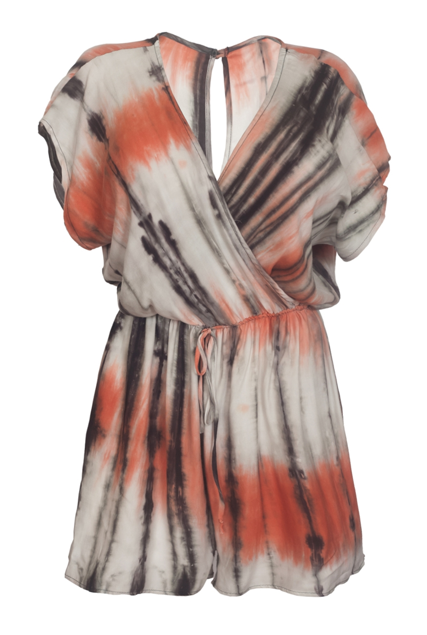 95a616e07062 Plus size Wrap Bodice Romper Tie Dye Orange