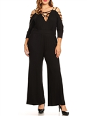 Plus Size Strappy V-neck Jumpsuit Black