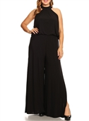 Plus Size Maxi Length Halter Jumpsuit Black