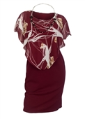 Plus Size Layered Poncho Dress Floral Print Burgundy 181019