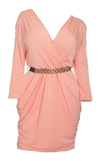 Plus size Deep V-Neck Wrap Bodice Long Sleeve Dress Peach