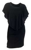Plus Size Layered Poncho Dress Glitter Black 1915