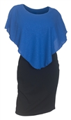 Plus Size Layered Poncho Dress Glitter Royal Blue 1915