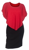 Plus Size Layered Poncho Dress Glitter Red 1915