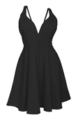 Plus Size Pleated Bodice Sleeveless Flare Dress Black 19618