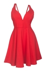 Plus Size Pleated Bodice Sleeveless Flare Dress Red 19618
