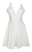 Plus Size Pleated Bodice Sleeveless Flare Dress White 19618