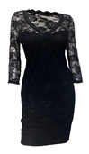 Plus Size Floral Lace Long Sleeveless Dress Black