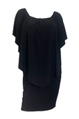 Plus Size On/Off Shoulder Layered Poncho Dress Black 19618