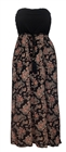 Plus size Maxi Abstract Print Tube Dress Black