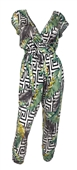 Plus Size Deep V-Neck Jumpsuit White Abstract Print 19618