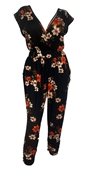 Plus Size Deep V-Neck Jumpsuit Black Floral Print 19713