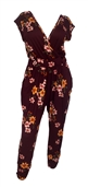 Plus Size Deep V-Neck Jumpsuit Burgundy Floral Print 19713