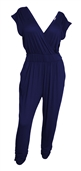 Plus Size Deep V-Neck Jumpsuit Navy 19713