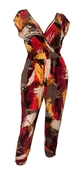 Plus Size Deep V-Neck Jumpsuit Red Designer Print 19713
