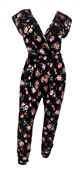 Plus Size Deep V-Neck Jumpsuit Black Floral Print 191123A